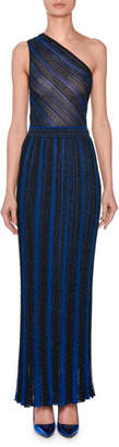 Missoni One-Shoulder Metallic-Striped Evening Gown