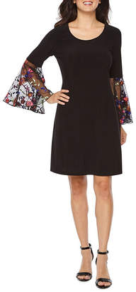 MSK 3/4 Embroidered Sleeve Shift Dress