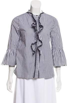 Karl Lagerfeld Lace-Trimmed Striped Top