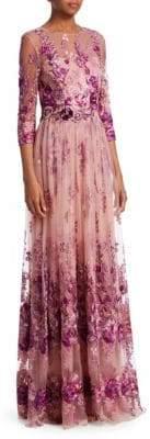 David Meister Floral Quarter-Sleeve Gown