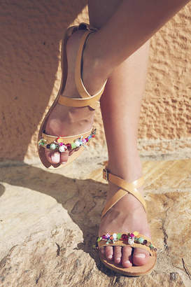 Iris Hibiscus Open Toe Hand Embellished Leather Sandals
