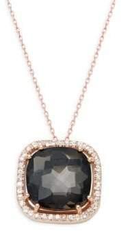 Suzanne Kalan Black Night Quartz & White Sapphire 14K Rose Gold Cushion Pendant Necklace