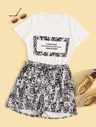 Shein Letter Print Tee With Snakeskin Print Belted Shorts