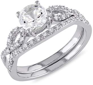 Concerto 10K White Gold 0.16 CT. T.W. Diamond Stackable Bridal Ring Set