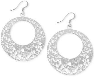 Essentials Openwork Pattern Drop Hoop Earrings in Fine Silver-Plate