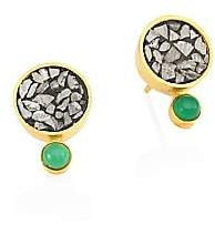 Ophelia Shana Gulati Women's Tulum 18K Goldplated Diamond & Green Onxy Studs