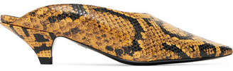 Snake-effect Leather Mules - Snake print
