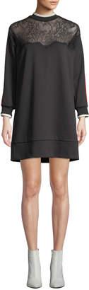 Pinko Lace Racer-Stripe Short Sweatshirt Dress