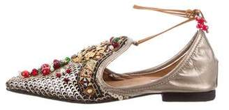 Reem Acra Embellished Pointed-Toe Flats