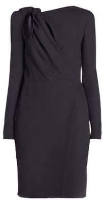 Giorgio Armani Long-Sleeve Cady Silk Tie Dress