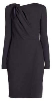 Giorgio Armani Women's Long-Sleeve Cady Silk Tie Dress - Dark Grey - Size 40 (4)