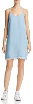 Splendid Fringe-Hem Chambray Slip Dress