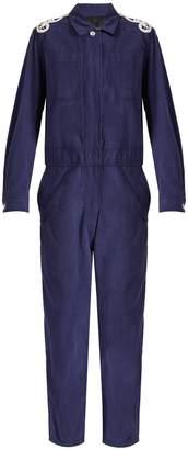 Burberry Lace-appliqué brushed-twill jumpsuit