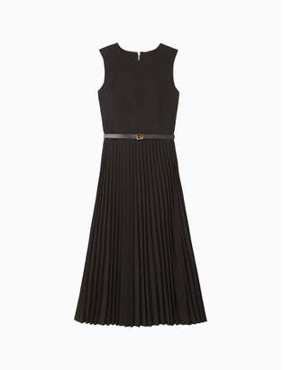 Calvin Klein Belted Pleated A-Line Midi Dress