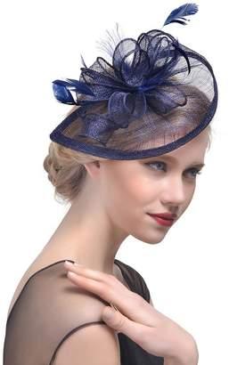 0c13f389b1c Belyee Women s Kentucky Derby Fascinator Hats Hair Clip Feather Prom Tea  Party Hat