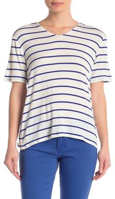 DKNY Striped V-Neck T-Shirt