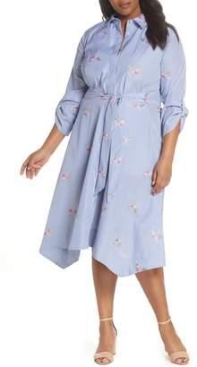 Tahari Embroidered Stripe Shirtdress