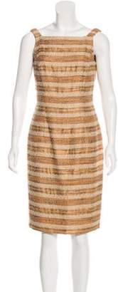 Carmen Marc Valvo Beaded Striped Dress Tan Beaded Striped Dress