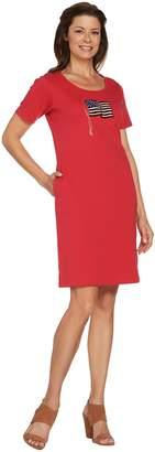 Factory Quacker Sequin Splash Short Sleeve Knit Dress with Pockets