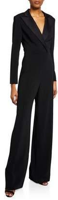Jay Godfrey V-Neck Long-Sleeve Tuxedo Jumpsuit