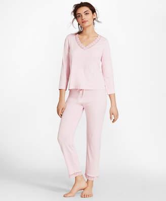 Brooks Brothers Lace-Trimmed Pima Cotton Interlock Jersey Pajama Set