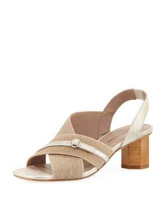 Donald J Pliner Radly Linen Octagonal-Heel Slingback Sandal