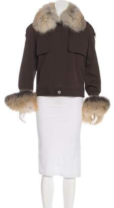 Oscar de la Renta Fox Fur-Trimmed Trench Jacket