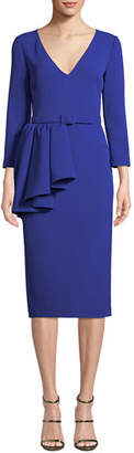 Badgley Mischka V-Neck 3/4-Sleeve Asymmetric Peplum Sheath Dress w/ Belt