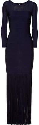 Herve Leger Fringed Tulle-paneled Bandage Gown - Navy