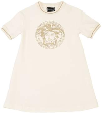Versace Embroidered Cotton Sweatshirt Dress