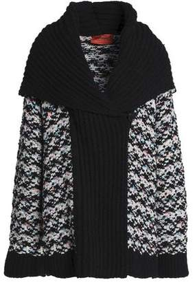 Missoni Ribbed Knit-paneled Wool-blend Jacquard Cardigan