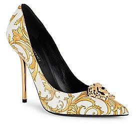 Versace Women's Western Medusa Baroque-Print Leather Pumps