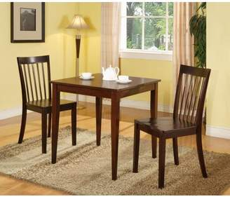 """Pilaster Designs Tanya 3 Piece Cherry Wood Shaker 30"""" Square Kitchen Dinette Dining Table & 2 Slatback Side Chairs Set"""