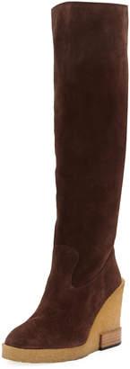 Tod's Suede Wedge-Heel Knee Boots
