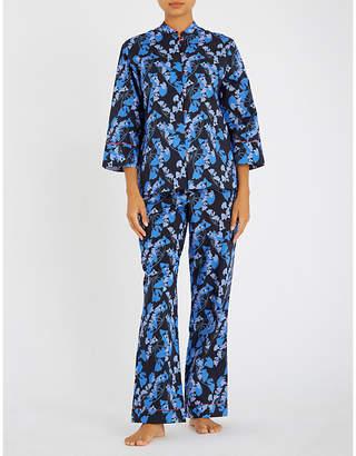Yolke Midnight Palm cotton pyjama set