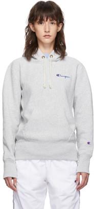 Champion Reverse Weave Grey Small Script Logo Hoodie