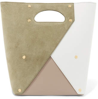 Yuzefi - Pablo Color-block Suede And Textured-leather Tote - Sage green