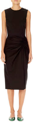 Carolina Herrera Asymmetric-Ruching Sleeveless Sheath Dress