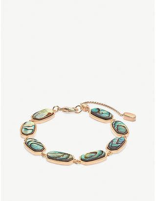d96e264f853355 Kendra Scott Millie 14ct rose gold-plated and abalone shell bracelet