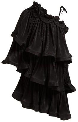 Romance Was Born Bloom Tiered Plisse Mini Dress - Womens - Black