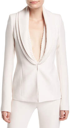 Neiman Marcus Brandon Maxwell Ribbed-Collar Crepe Suiting Jacket