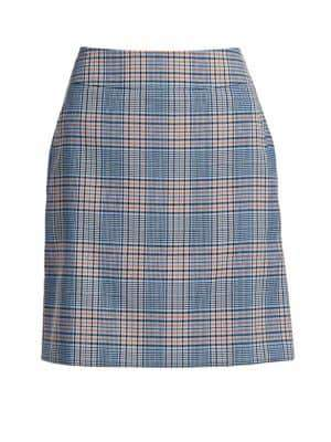 Akris Punto Bicolor Plaid A-Line Skirt