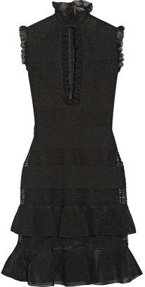 Alexander McQueen - Ruffled Metallic Stretch Silk-blend Mini Dress - Black $2,895 thestylecure.com