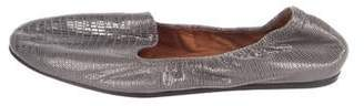Lanvin Metallic Round-Toe Loafers