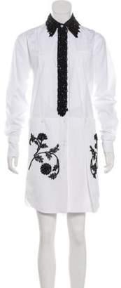Prada Embellished Shirt Dress White Embellished Shirt Dress