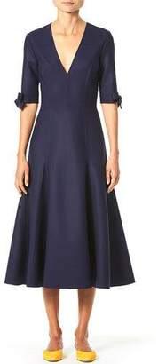 Carolina Herrera 1/2-Bow Sleeve V-Neck Midi Dress