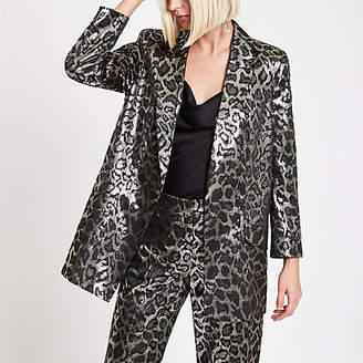 River Island Brown metallic leopard print blazer