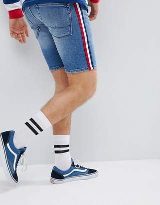 Asos DESIGN Skinny Denim Shorts In Mid Wash Blue With White Side Stripe