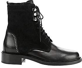 Aquatalia Women's Ali Suede& Leather Combat Boots