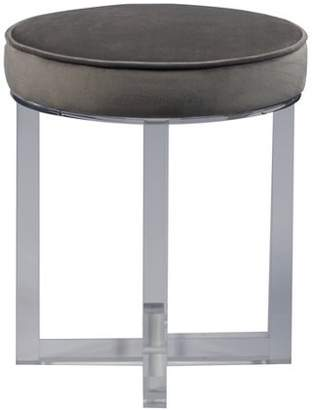 Accentrics Home Round Upholstered Acrylic Leg Ottoman in Luxor FlannelAcrylic Leg Ottoman